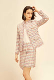 Women's Tweed Plaid Short Coat + Skirt Two Piece Sets