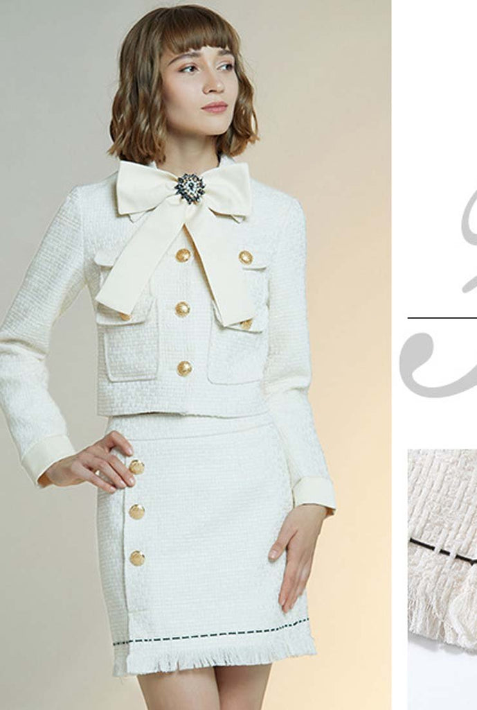 Women's White Jacket + Short Skirt Two Piece Set