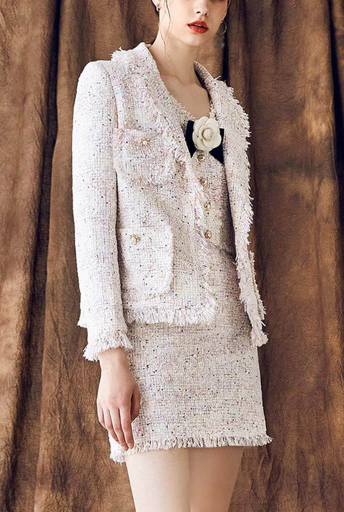 Women's White Tweed Tassels Lapel Formal Jacket