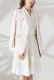 Womens V-neck Pink Tweed Fringed Jacket