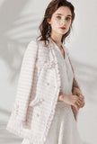 Womens V-neck White Tweed Fringed Jacket