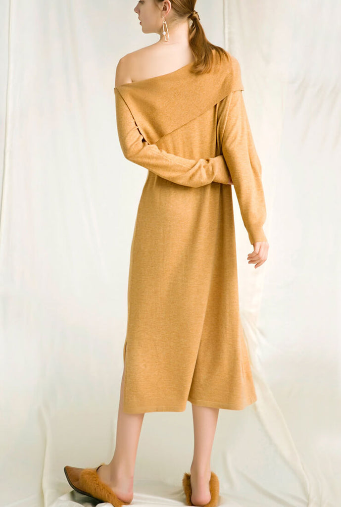 Wool-blend Off The Shoulder Long Sweater Dresses