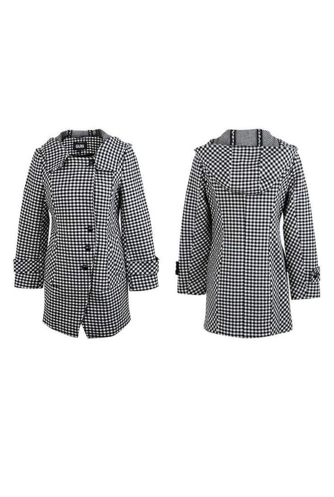 Wool Blend Lapel Collar Plaid Short Coat