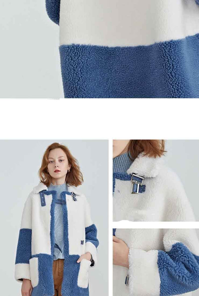 Wool Blend Teddy Cardigan Faux Fur Coat