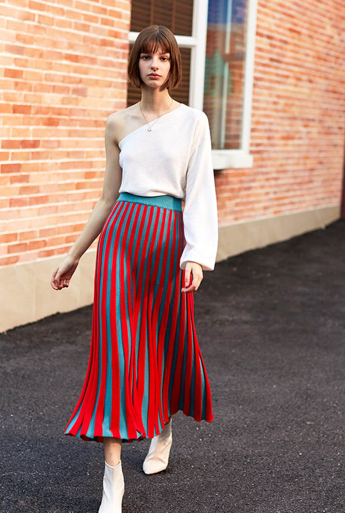 Wool Knit Pleated Midi Skirt