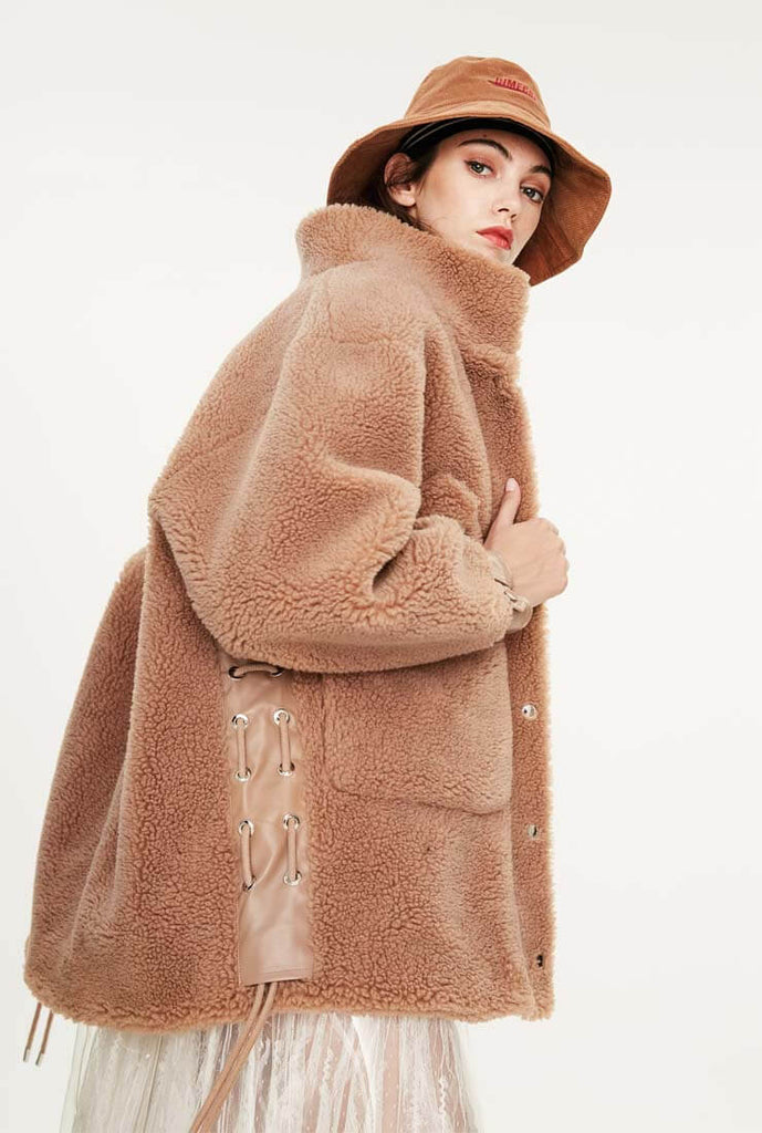 Camel Wool Loose Long Teddy Bear Coat