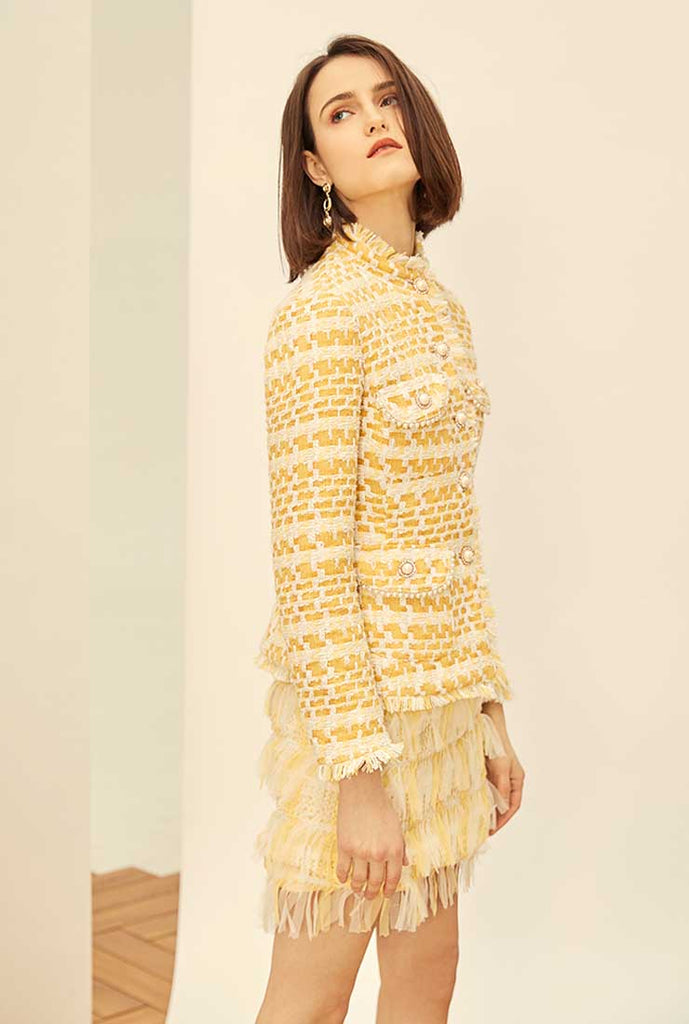 Yellow Stand Collar Tweed Coat + Short Pants Two Piece Sets
