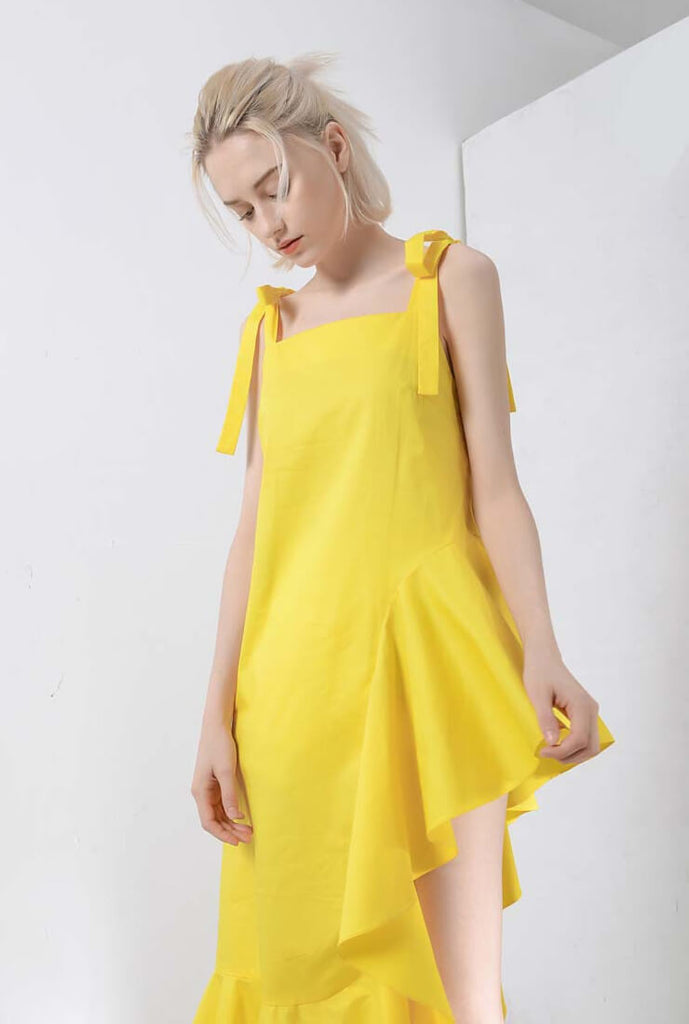 Yellow Strap Ruffle Midi Dress