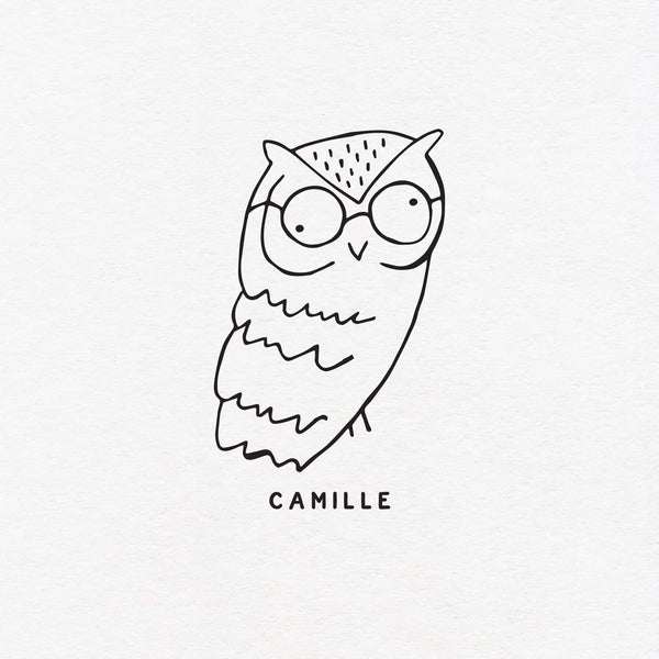 owl with glasses exlibris custom