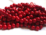 Red Coral Round Beads - 10mm