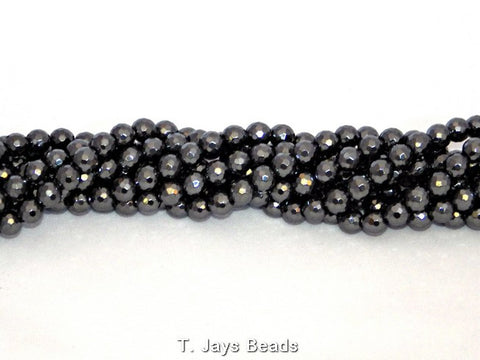 Faceted Hematite Beads - 128 Facets - 8mm