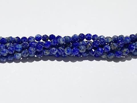 2mm Faceted Natural Lapis Lazuli Beads - A Grade