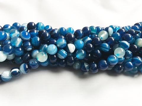 8mm Blue Striped Agate Round Beads for Jewellery Making