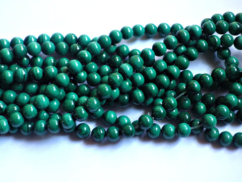 Malachite Round Beads - 6mm - B Grade