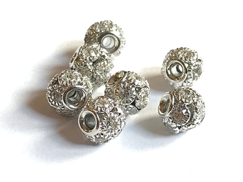10 x 8mm Brass Round Rhinestone Spacer Beads in Silver Colour