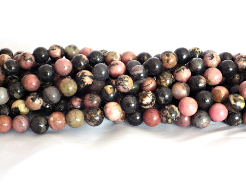 8mm Rhodonite (Black Vein) Round Beads