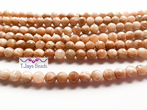 8mm Faceted Sunstone Round Beads