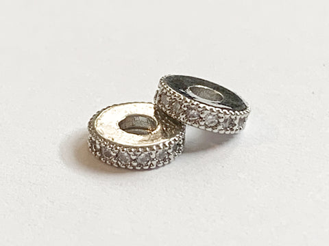 10 x 8mm Brass Micro Pave Rhinestone Spacers Silver