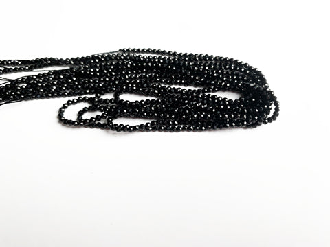 2mm Faceted Black Spinel Beads