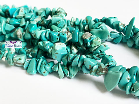 Blue Turquoise (Stabilised) Chip Beads 5-8mm