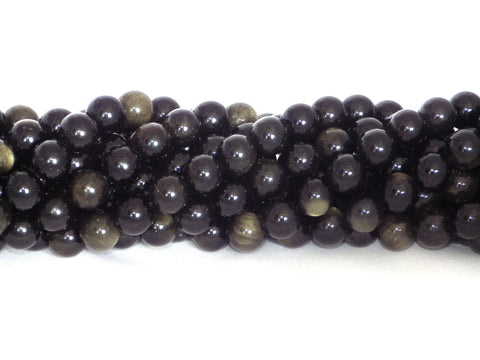 Golden rainbow obsidian round beads - 10mm