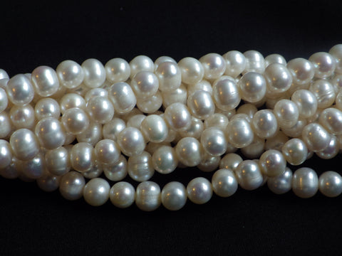 7-8mm White Freshwater Potato Pearl Beads