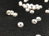 100 x 8mm Silver Colour Rhinestone Spacer Beads