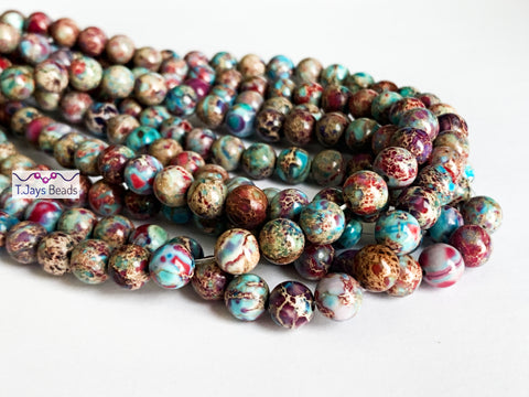 8mm Purple-Blue Multicoloured Impression Jasper Round Beads