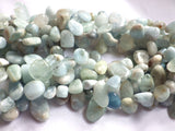 Aquamarine Drop Style Chip Beads - 7x12mm