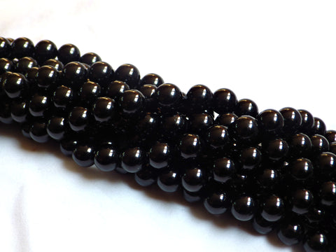 4mm Black Tourmaline Round Beads