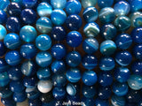 Blue Striped Agate Beads - 10mm