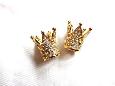 2 x Brass Micro Pave Cubic Zirconia Crown Beads 12.2 x 10.3mm GOLDEN