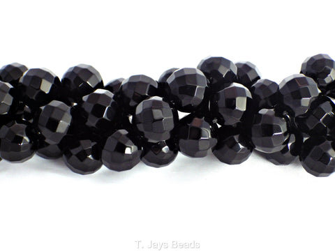 Faceted Black Onyx Beads - 12mm