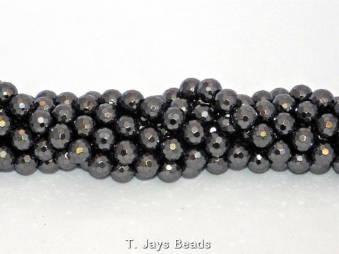 Faceted Hematite Beads - 128 Facets - 10mm