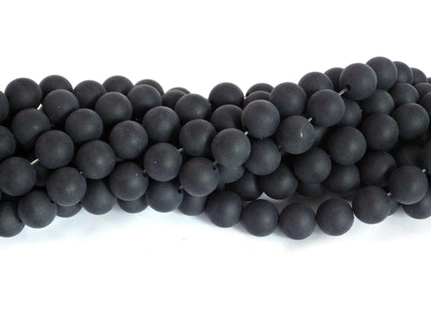 Frosted Black Onyx Beads - 8mm