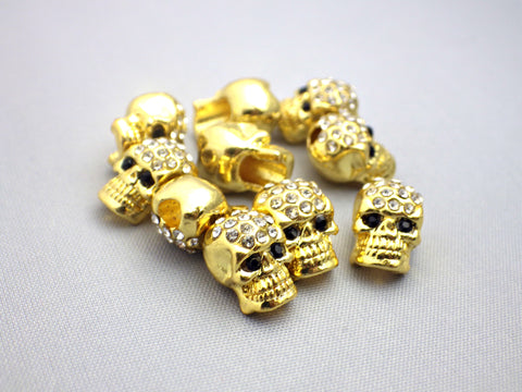 10 x Crystal Pave Zinc Alloy Skull Beads With Rhinestones in Gold