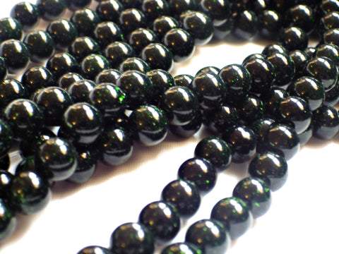 Green Goldstone Beads - 8mm