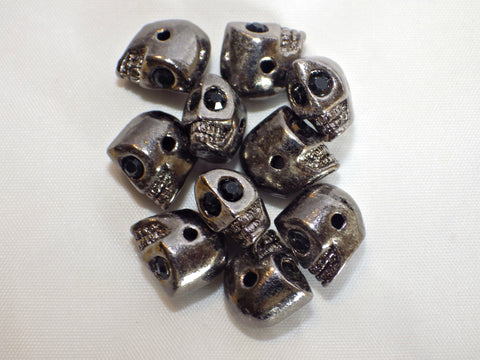 Rhodium plated skull beads in gun metal colour