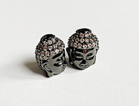 5 x Brass Micro Pave Buddha Head Beads Gun Metal