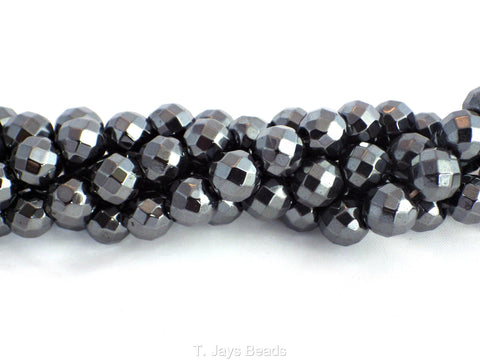 Faceted Hematite Beads - 64 Facets - 7-8mm