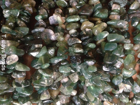 Moss Agate Chip Beads