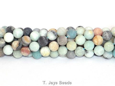 Multicoloured Frosted Amazonite Round Beads - 10mm