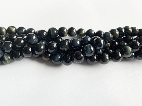 8mm Natural Blue Tiger Eye Beads
