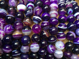 Purple Striped Agate Beads - 8mm