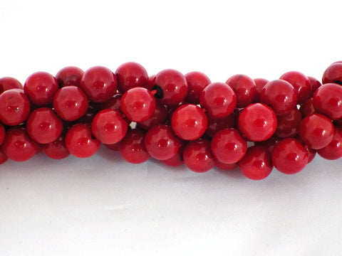 8mm red bamboo coral round beads