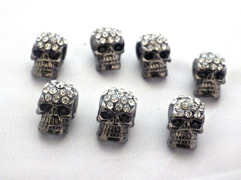 Crystal Pave Zinc Alloy Skull Head Beads - Gun Metal