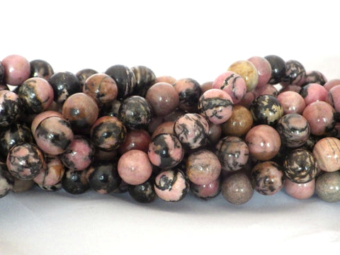 10mm Rhodonite (Black Vein) Round Beads