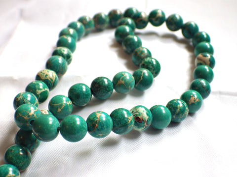 8mm Green Natural Sea Sediment Jasper Round Beads