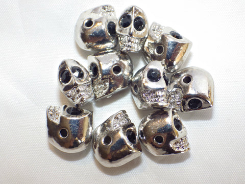Rhodium plated skull beads - drilled side holes
