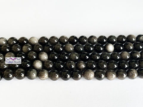 8mm Natural Silver Sheen Obsidian Round Beads